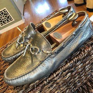 Ralph Lauren silver loafers. Super cute